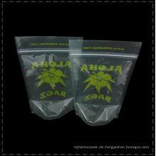 Transparente Teebeutel Stand up Druck Tee Poular Aluminiumfolie oder Kunststoff Customized Drucken grüner Tee Blätter Taschen