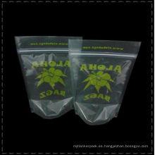 Bolsas de té transparentes Levántate té de impresión de papel de aluminio de Poular o bolsas de té de té verde de impresión Personalizada de plástico