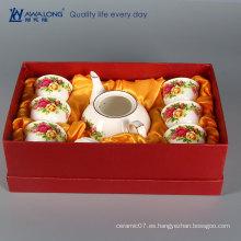 Rosa blanca del oro de la porcelana La tetera oriental asiática fijó como sistemas de té de la tetera del regalo / de la vendimia para la boda