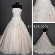 Champagne Lace Appliqued Floor Length Custom Made Long Formal Bridal Hochzeitskleid BW277 wedding-gown-sample-pictures