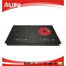 Fogão de indução manual do fogão de dois fogões elétricos de dois queimadores