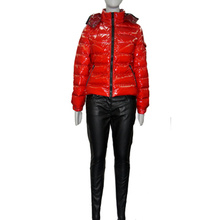 Women Down Jacket with Hat and PU Pants