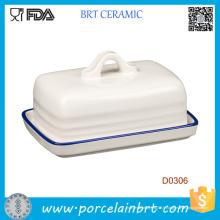 Plat de beurre de cuisine en céramique blanc promotionnel