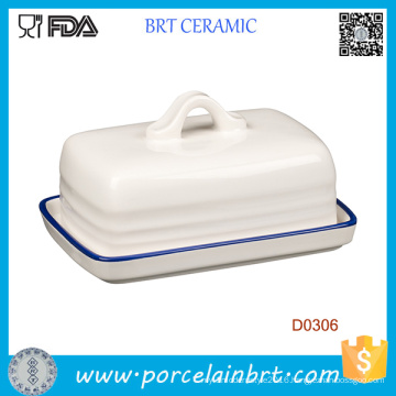 Promotional White Ceramic Kitchen Butter Dish