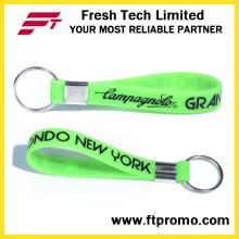OEM Promocionais Impresso Silicone Wristband Keyring com o seu logotipo