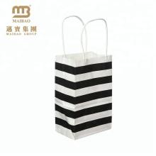 Großhandelskundenspezifische Kraftpapier-kleine Schwarzweiss-Streifen-Geschenk-Papiertüte mit festem Griff