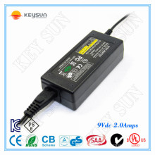 220v ac to 9v 2A dc adaptor two pin plug 9volt 2000ma power switching adapter