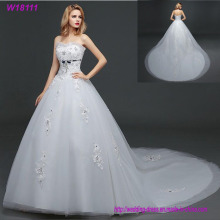 Beauty Prom Lace Handmade Floor Length Tulle Ball Gown Bridal Wedding Dress