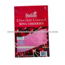 bolsa mylar ziplock personalizada para chocolate cherry