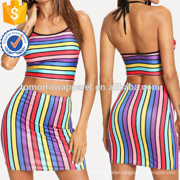 Multi-Stripe Crop Halter Top With Skirt Manufacture Wholesale Fashion Women Apparel (TA4093SS)
