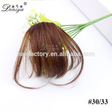 Imponderable top quality cheap price clip in hair bang lightest synthetic fringe with sidebums