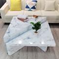Conjunto de mesa de centro de vidro com textura de mármore