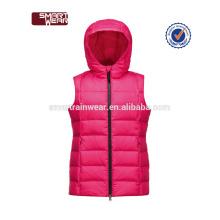 Chaleco de plumas de calidad superior con cuello para mujer Chaqueta de abrigo de invierno casual con capucha