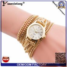 Yxl-780 nagelneue Frauen-Armband-Leder-Bügel-Kristalluhr-lange Kettenarmbanduhr-Schmucksache-Luxuxdame-Geschenk-Uhr