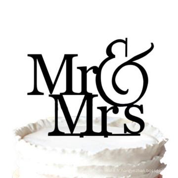 Romantique Mr & Mrs Silhouette Cake Topper De Mariage
