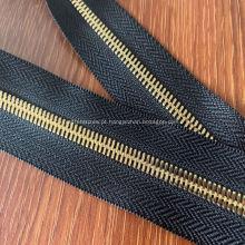 Zíper de bordado de renda de metal grande strass de bronze