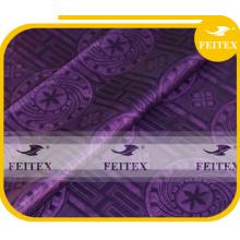 Tissu d'abaya africain damassé teints en tissu de brocart de Guinée violet fait à la main bazin riche