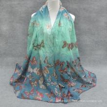Toujours chaud vente whosale mode base dépistage imprimé papillon hijab floral cap abaya mode hijab magasin