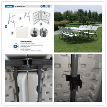 6ft 183cm Blasform HDPE Plastiktisch / bewegliches einfaches tragendes leichtes festes Tabellen- / Bankett-Rechteck, das im Halbtisch faltet (HQ-Z183)