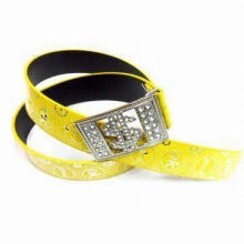 Yellow PU Belt, US Dollar Sign Design Buckle with Alloy Rhinestones Decoration