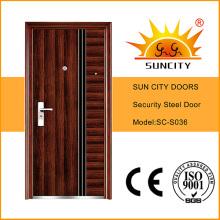 Cheap Wrought Iron Door Steel Grill Door Design Models Iron Door (SC-S036)
