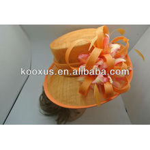 Sinamay wedding hats with feather decoration