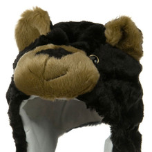 High quality black bear animal hat with scarf and mittens