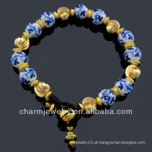 Estilo Vintage Mão Crafted Porcelana Beaded Flor Pulseira De Cerâmica Vners BC-006