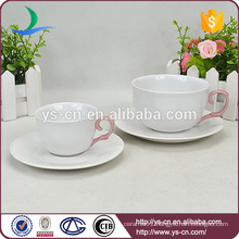 Modern pink hand shank elegant Ceramic Cup and Saucer