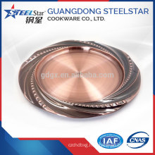 stainless steel gold plated metal round serving tray for party with good quality