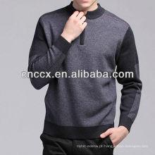 12STC0617 mock camisola de lã pura dos homens de gola alta
