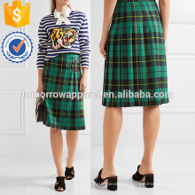 Saia de lã de tartan plissada manufatura atacado moda feminina vestuário (ta3020s)
