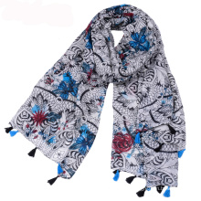 Wholesale bohemia national style tassel scarf warp knitted scarf fabric voile digital printed scarf