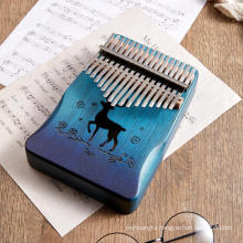 professional African Instrument 17 key kalimba blue thumb piano in stock ready to ship