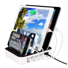 4 Ports USB Charger with Stand 2.4A*2 for iPad 1A*2 for Cellphone