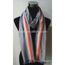 Novo Design Stripe Cotton Scarf com franja