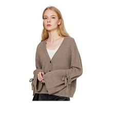 PK18A72HX Frauen 100% Kaschmir Cardigan Sweater Oversized Lace-Up Bell Sleeve Cardigan