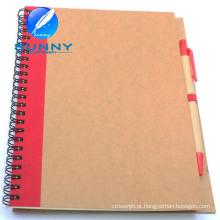 Caderno espiral promocional com Ballpen, Caderno reciclado com Ballpen
