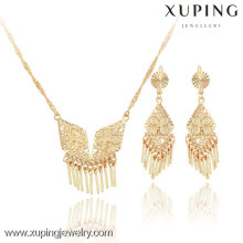 63603-Xuping Indian style tassel women necklace jewelry earring set