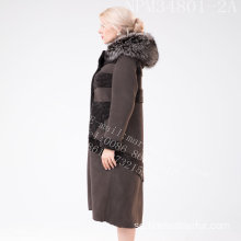 Vinter Kvinnor Australien Merino Shearling Fur Coat