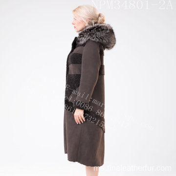 Wanita Winter Australia Merino Shearling Fur Coat