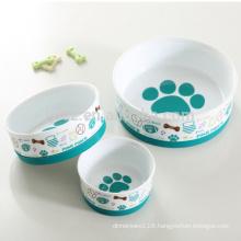 Ceramic wholesale dog bowls with non-slip silicone base