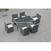 Wicker Dining Table for Outdoor, Indoor with 6 Chairs