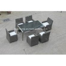Mesa de jantar de vime para exterior, interior com 6 cadeiras