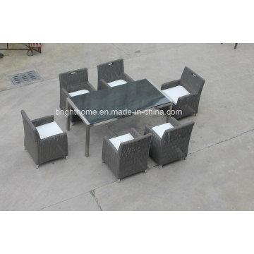 Mesa de comedor de mimbre para exterior, interior con 6 sillas