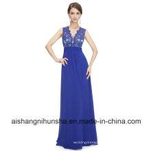 Women A-Line Chiffon Lacey Semi Sheer Sleeveless Long Evening Dress
