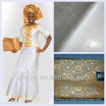 Tela africana suave blanca de la ropa del telar jacquar del brocado de Guinea del algodón Bazin Riche de Bazin con el perfume Superventas