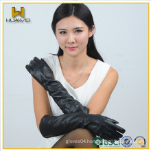 elbow length elastic sleeve sex long ladies leather gloves