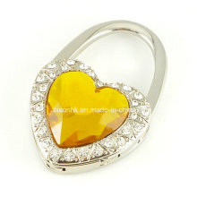 Heart-Shaped Diamond Purse Hook for Wedding Gifts