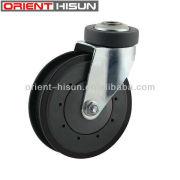 Roda do rodízio de cinza PU parafuso furo único rolamento de esferas